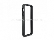Бампер для iPhone 5 / 5S Macally Texture Frame Case, цвет черный (RIMPLUSCF-P5)